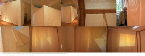 """i'll tell you, anyway""; Installation of wood, muslin, mylar, and digital projectors. New York, May 2011"