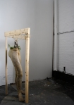 """Legs""; Latex, gauze, soil, weeds, wooden frame. New York, October 2010."