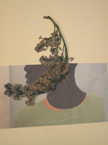 "Collage, print media and dried flora. 9"" x 12"" 2014"